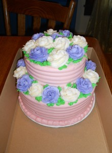 Purple and White Roses - 2 Tiered
