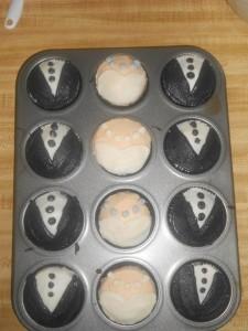Wedding Dress and Tuxedo Cupcakes