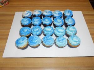 Blue and White Swirl Cupcakes