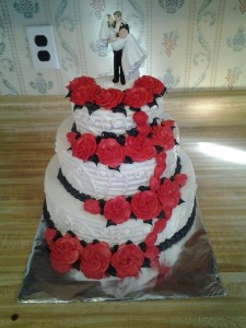 Wedding Cake with Red Roses!