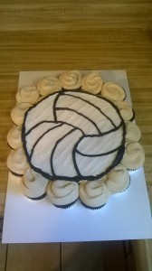 Volleyball Cupcake Cake - Chocolate with Peanut Butter Frosting
