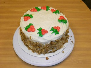Carrot Cake with Holly for a Great Christmas Dessert!