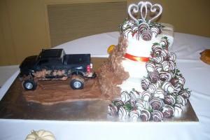 Chocolate Wedding Cake with Chocolate Covered Strawberries!